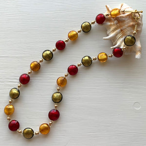 Necklace with gold topaz (amber), grey and red Murano glass small lentil beads on gold