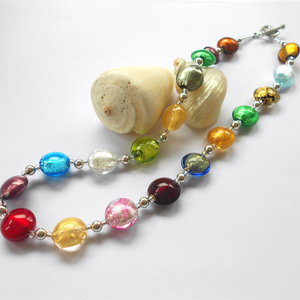 Necklace with multicolours Murano glass small lentil beads on silver beads and clasp
