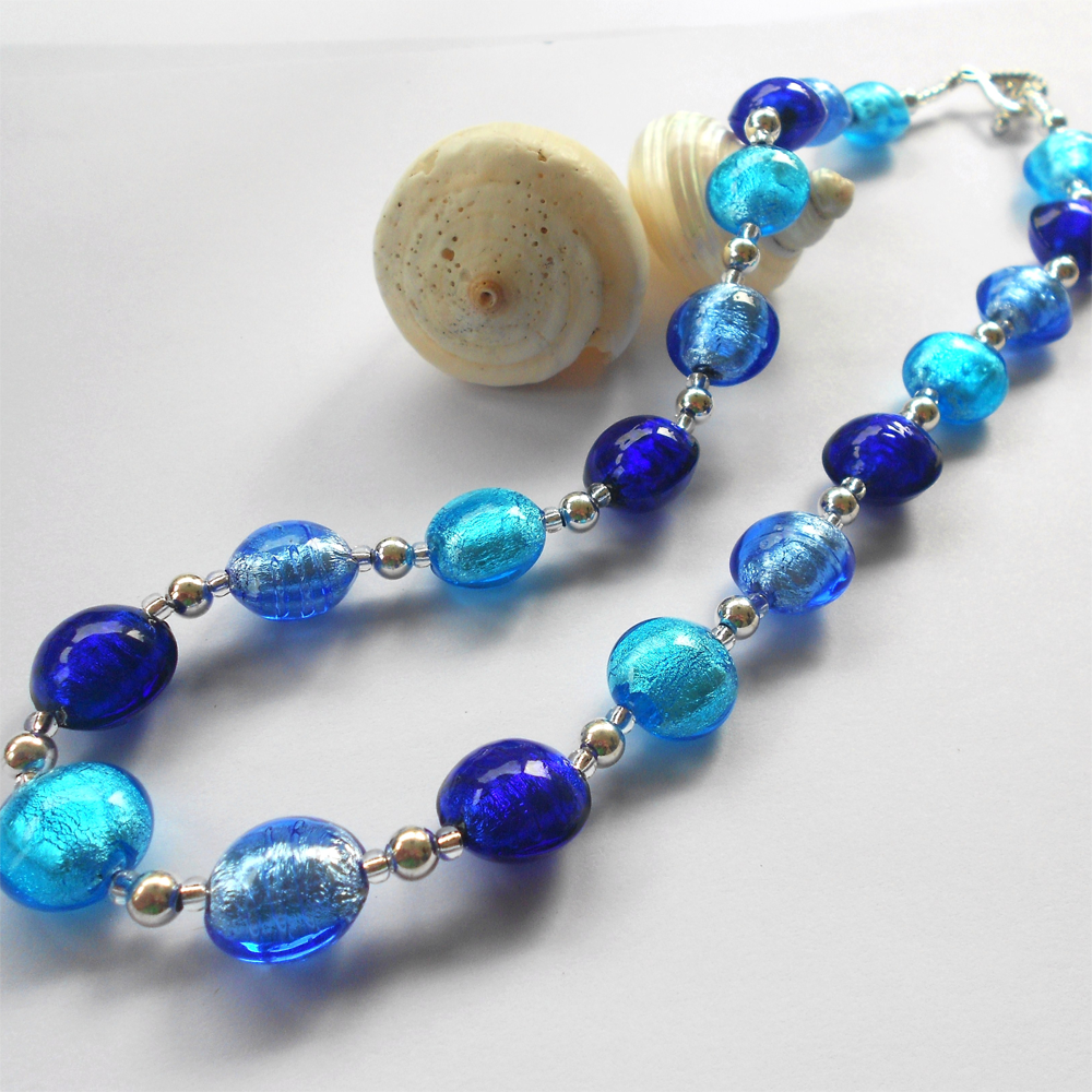 Necklace with shades of blue Murano glass small lentil beads on Sterling Silver beads & clasp