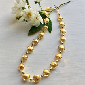 Necklace with light (pale) gold Murano glass small lentil beads on gold