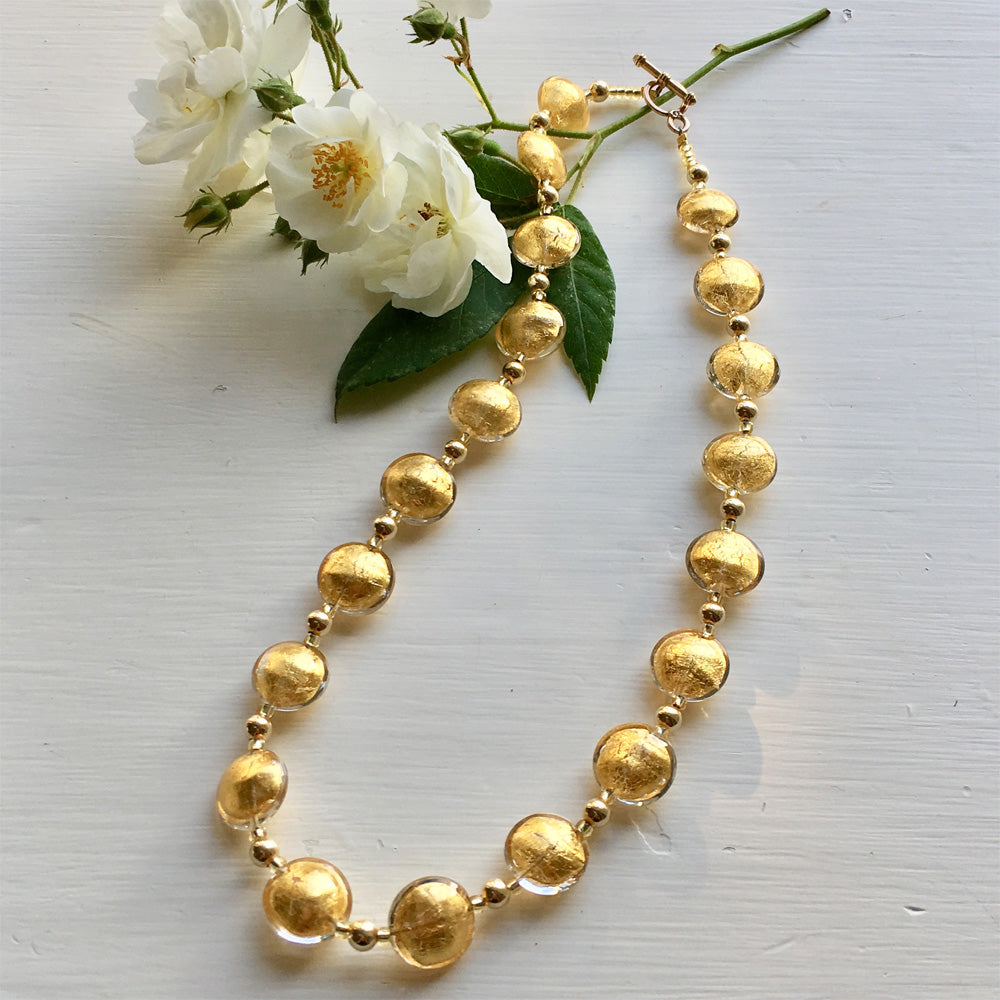 16-20 Inch (41-51cm) Light (Pale) Gold Lentil 'Smartie' Bead Necklace On Gold