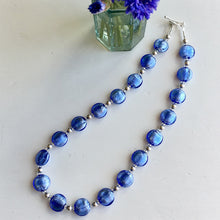 Necklace with cornflower blue Murano glass small lentil beads on silver beads and clasp