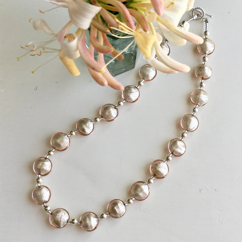 Necklace with champagne (peach, pink) Murano glass small lentil beads on silver beads and clasp