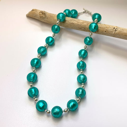 Necklace with teal (green, jade) Murano glass sphere beads on silver beads and clasp
