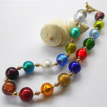 Necklace with multicolours Murano glass sphere beads on gold