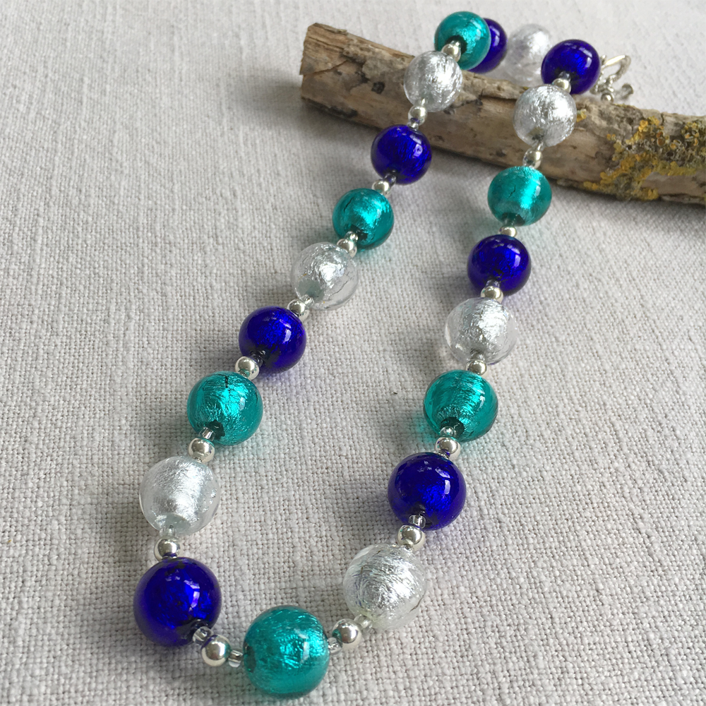 Teal (Green, Jade), Cobalt & Clear Crystal (it. Crystallo) Sphere Bead Necklace On Silver
