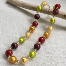 Necklace with five colours Murano glass sphere beads on gold beads and clasp