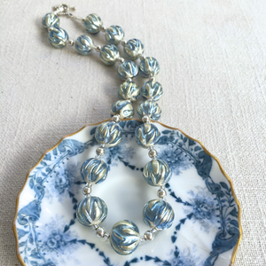 Necklace with cornflower blue over white gold Murano glass sphere beads on silver beads & clasp