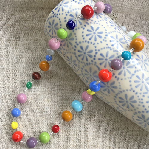 Necklace with multi colours, shapes & sizes Murano glass pastel beads in long flapper style