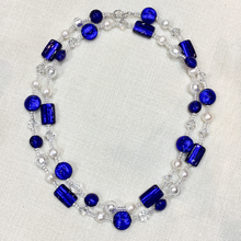 Necklace dark blue (cobalt) & crystal Murano glass beads in flapper style *other colours*