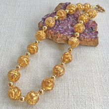 Necklace with gold and aventurine Murano glass sphere beads on gold beads and clasp