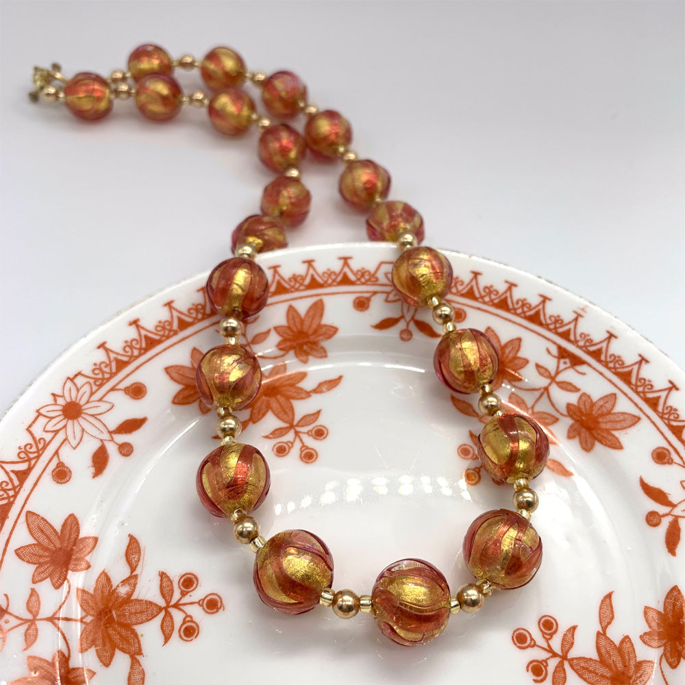 Necklace with ruby red & gold Murano glass sphere beads on gold beads and clasp