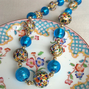 Necklace w/ speckled colours & turquoise Murano glass sphere beads on gold vermeil beads & clasp