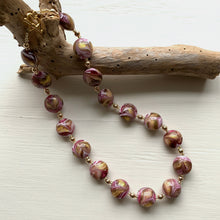 Necklace with byzantine pink and gold Murano glass medium lentil beads on gold