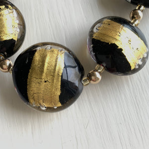 Necklace with black pastel striped in gold Murano glass large lentil beads on gold beads & clasp