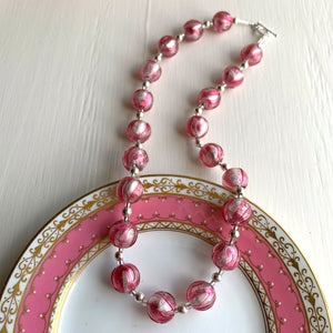 Necklace with rose pink and white gold Murano glass sphere beads on silver beads & clasp