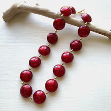 Necklace with red Murano glass large lentil beads on gold beads and clasp