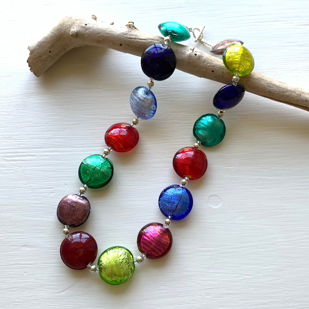 Necklace with multicolours Murano glass large lentil beads on silver beads and clasp