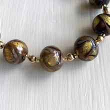 Necklace with byzantine grey and gold Murano glass sphere beads on gold