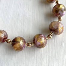 Necklace with pink, gold, aventurine Murano glass sphere beads on gold beads and clasp