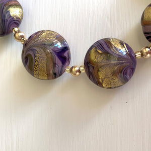Necklace with byzantine purple and gold Murano glass medium lentil beads on gold