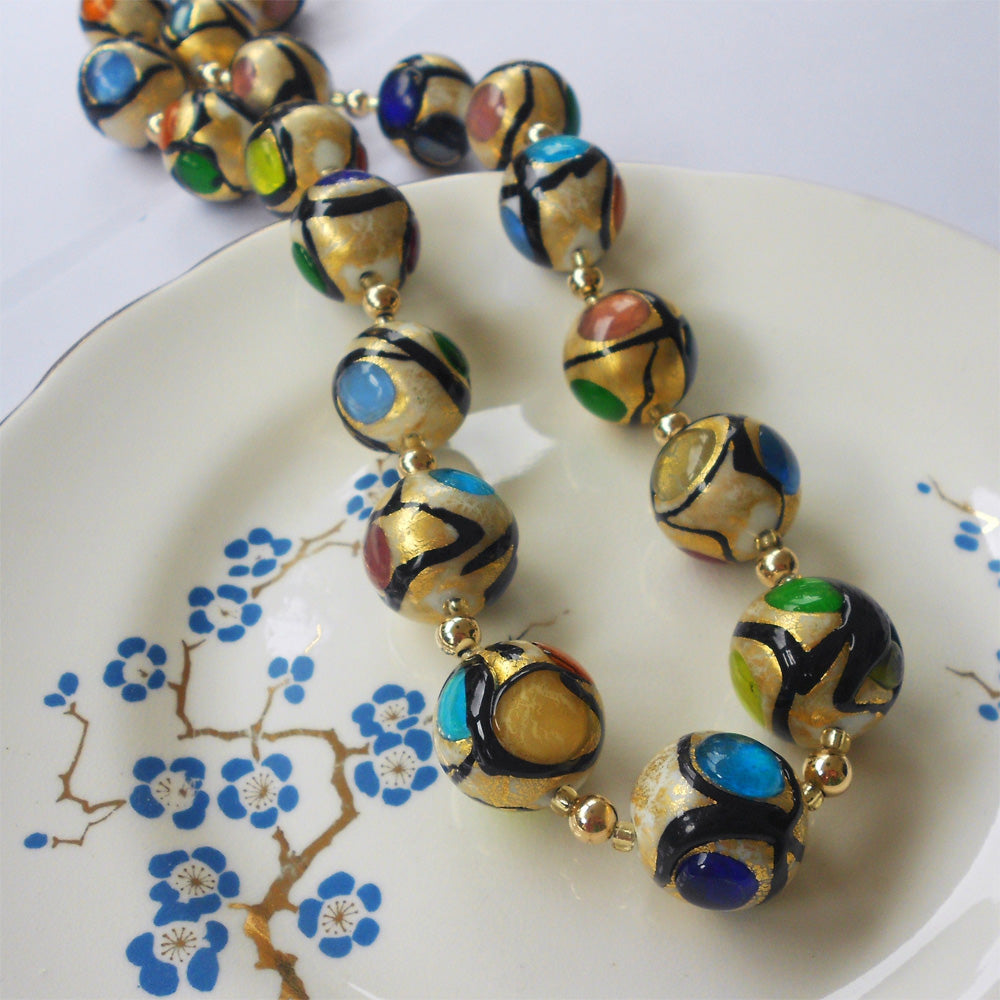 Necklace w/ multicolours, black & gold Murano glass sphere beads on 22 Carat gold vermeil beads & clasp