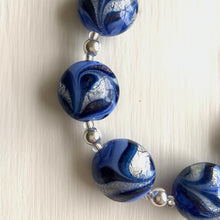 Necklace with periwinkle, dark blue, white gold, Murano glass medium lentil beads on silver