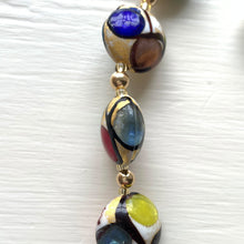 Necklace with multicolours, black and gold Murano glass large lentil beads on gold