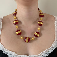Necklace with red translucent and gold lentil and gold sphere Murano glass beads on gold