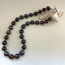 Necklace with large graduated cultured freshwater black baroque 'Kasumi' pearls