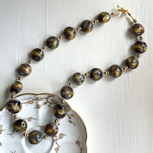 Necklace with byzantine grey and gold Murano glass medium lentil beads on gold beads and clasp