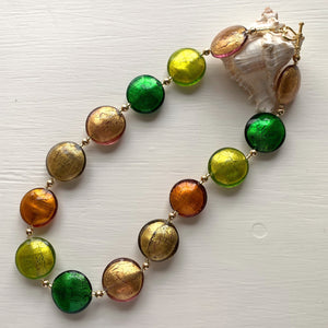 Necklace with multicolours (browns, greens and grey) Murano glass lentil beads on gold