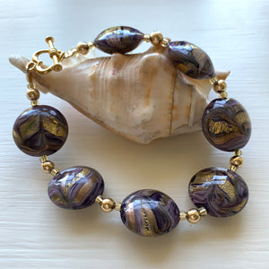 Bracelet with byzantine purple and gold Murano glass medium lentil beads on gold