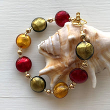 Bracelet with gold topaz (amber, brown), grey, red Murano glass small lentil beads on gold