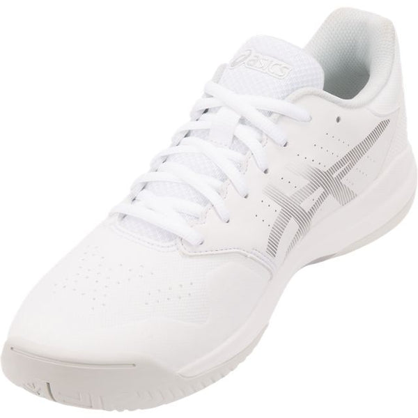 Asics Gel Game 7 Mens Tennis Shoe (White/Silver) - RacquetGuys