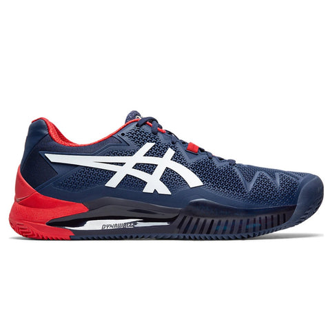 Asics Gel Resolution 8 Men's Clay Court Tennis Shoe (Dark Blue/White) - RacquetGuys
