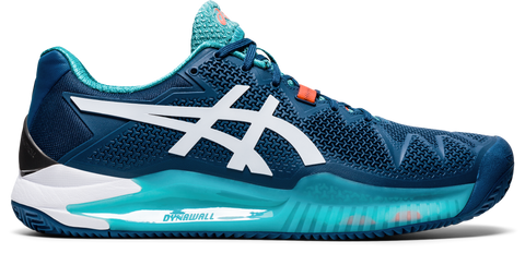 Asics Gel Resolution 8 Men's Clay Court Tennis Shoe (Mako Blue/White) - RacquetGuys