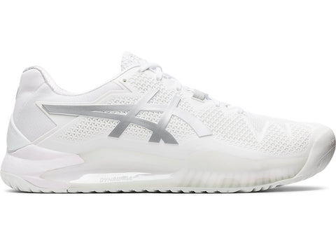 Asics Gel Resolution 8 Men's Tennis Shoe (White/Silver) - RacquetGuys