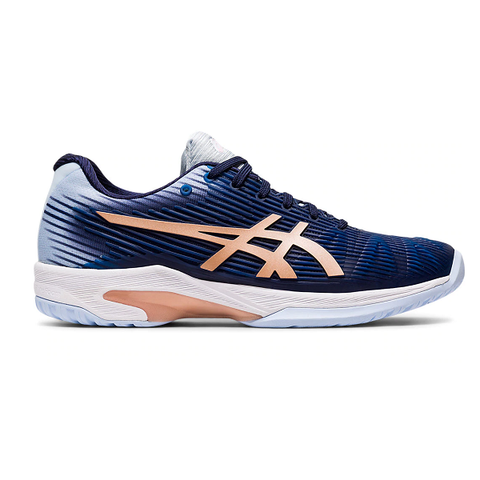 Asics Solution Speed FF Womens Tennis Shoe (Dark Blue/Rose Gold) - RacquetGuys
