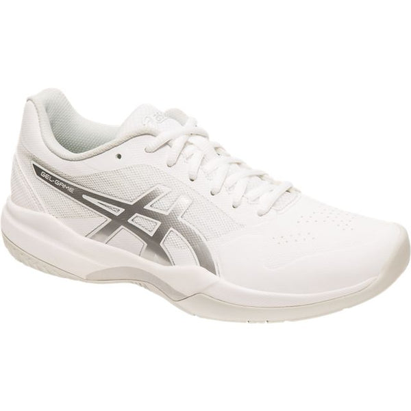 Asics Gel Game 7 Womens Tennis Shoe (White/Silver) - RacquetGuys