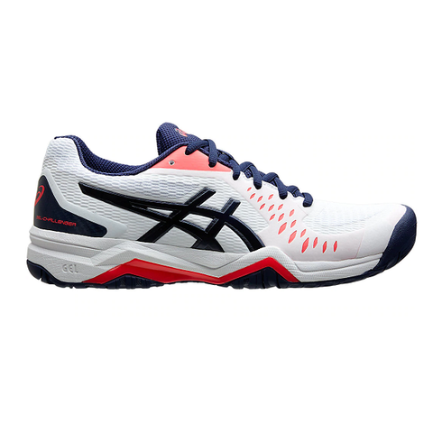 Asics Gel Challenger 12 Women's Tennis Shoe (White/Dark Blue) - RacquetGuys