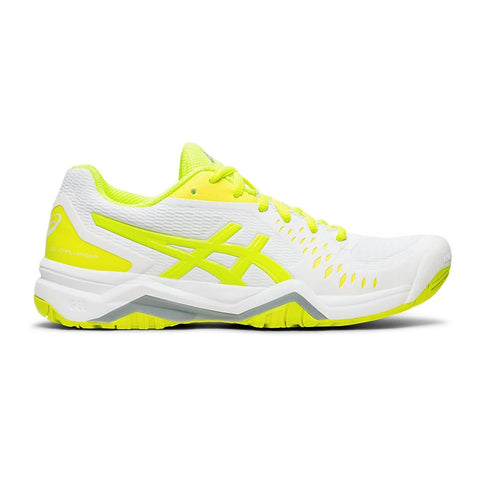 Asics Gel Challenger 12 Women's Tennis Shoe (White/Safety Yellow) - RacquetGuys