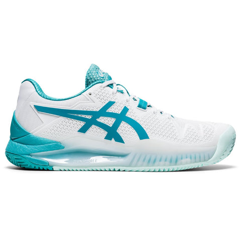 Asics Gel Resolution 8 Women's Clay Tennis Shoe (White/Light Blue) - RacquetGuys