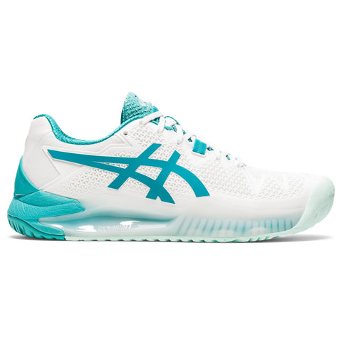 Asics Gel Resolution 8 Women's Tennis Shoe (White/Light Blue) - RacquetGuys