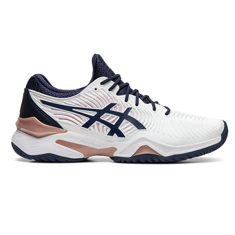 Asics Court FF 2 Women's Tennis Shoe (White/Dark Blue) - RacquetGuys