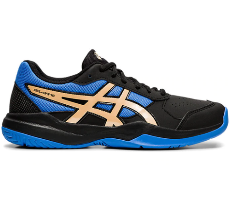 Asics Gel Game 7 GS Junior Tennis Shoe (Black/Blue/Gold) - RacquetGuys.ca
