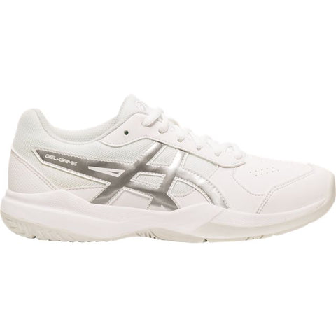Asics Gel Game 7 Junior Tennis Shoe (White/Silver)
