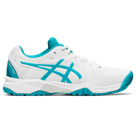 Asics Gel Resolution 8 GS Junior Tennis Shoe (White/Light Blue) - RacquetGuys.ca