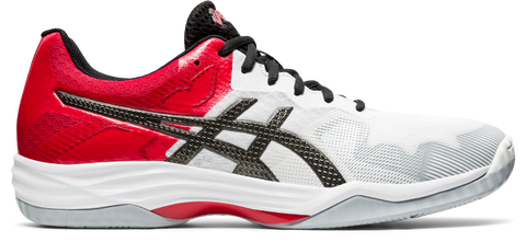 Asics Gel Tactic Men's Indoor Court Shoe (White/Red/Grey) - RacquetGuys.ca