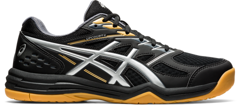Asics Upcourt 4 Men's Indoor Court Shoe (Black/Silver) - RacquetGuys.ca